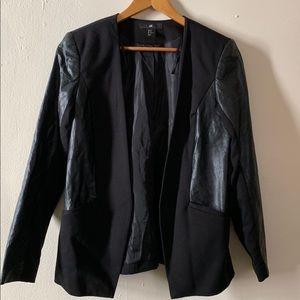 H&M Faux Leather Black Blazer Size 12